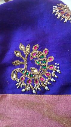 Discover recipes, home ideas, style inspiration and other ideas to try. Embroidery Works, Indian Embroidery, Hand Embroidery Designs, Beaded Embroidery, Embroidery Patterns, Embroidery Blouses, Mirror Work Blouse, Maggam Work Designs, Kimonos