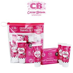 Cocoa Brown Travel Set - with Kind Shampoo, Conditioner & Shower Gel, and 20 Self Tanning Wipes