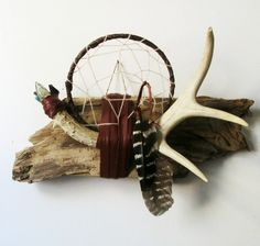 Items similar to Dreamcatcher Wall Hanging // With Deer Antler & Driftwood And Crystals. One of a Kind Art. on Etsy Deer Antler Crafts, Antler Art, Feather Crafts, Feather Art, Deer Antlers, Dream Catcher Mandala, Dream Catchers, Dremel, Native American Quotes