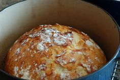 pinner said I am completely obsessed with this bread. Ive made 5 loaves already!  This is insanely easy - it literally took 2 minutes to stir together the dough - let it sit overnight and then bake.  This has the plain version and two flavored:  Rosemary, Lemon and Gruyere AND Cranberry, orange and almond.