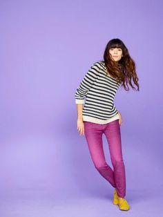 gap fuchsia jeans, stripe shirt, yellow shoes