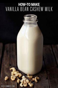 Easy Homemade Vegan Nut Milk Recipe How-to Make Vanilla Cashew Milk // Tasty Yummies Make Almond Milk, Almond Milk Recipes, Homemade Almond Milk, Raw Food Recipes, Drink Recipes, Homemade Vanilla, Coconut Milk, Organic Almond Milk, Veggies