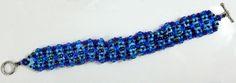 """Blue on Blue"" needle woven (mostly Right Angle Weave) bracelet. Right Angle Weave, Woven Bracelets, Friendship Bracelets, Weaving, Beads, Blue, Beautiful, Jewelry, Fabric Bracelets"