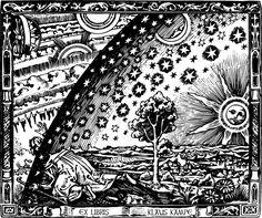 Ex Libris Bookplates | Universe Man Bookplate Rubber Stamp, Ex Libris Man and Sky