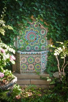 I think gardens should be full of surprises, like this small tile fountain tucked into a secluded corner. ~s - Budget Gardening Home Garden Design, Modern Garden Design, Garden Art, Home And Garden, Modern Design, Landscape Design, Garden Mosaics, Garden Nook, Moroccan Garden