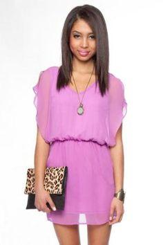 $37.00 Springtime Flutter Dress in Violet :: tobi
