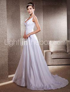 A-line Appliques Deep V-neck Chapel Train Satin Wedding Dress  Item ID #00248912