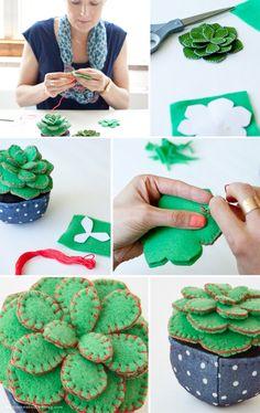 Handmade felt succulent by Hallmark artist Leslie Seibert | thinkmakeshareblog.com