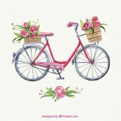 bikes with flowers clip art Bicycle Painting, Bicycle Art, Vector Flowers, Watercolor Paintings, Watercolour, Illustration Art, Sketches, Clip Art, Hand Painted