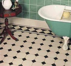 Original Style Victorian Tiles - York Pattern with Melville Border