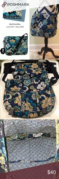 """Vera Bradley Messenger Bag! Vera Bradley Messenger Bag used condition! Pattern is """"Mod Floral Blue"""" a retired print from collection in (2007-2008). This bag is clean inside (picture) and still has a lot of life left. It's perfect for muti-purpose use: School, work, laptop, travel, baby bag, ect. Only flaw is a little bit of wear on bottom corners (pointed out in picture). Vera Bradley Bags Crossbody Bags"""