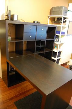 Good idea to add the desk to it. IKEA - Expedit Bookcase u0026 Desk by