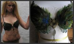 SIREN SAYS Peacock Feather Belly Dance Top / Size 34 C. via Etsy.