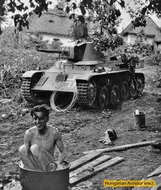 Last picture from Antalfy first lieutenant in Kamienecz-Podolsk. Soon is knocked out his Toldi tank and he died with tank crews. Az utolsó fotó Antalfy főhadnagyról Kamienecz-Podolskban. Később harckocsiját kilőtték és hősi halált halt. 1941.
