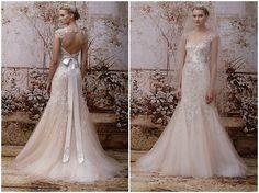 Blush wedding dress Monique Lhuillier