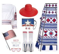 """Red White Blue for July 4."" by ragnh-mjos ❤ liked on Polyvore featuring Vita Kin, TIBI, Eric Javits, Grandin Road, Fendi, contest, outfit and fourthofjuly"