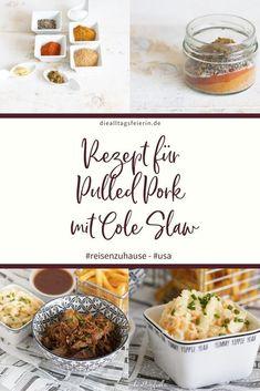 Rezept für Pulled Pork mit Cole Slaw, #reisenzuhause diealltagsfeierin.de, USA Coleslaw, Pulled Pork, Muffin, Usa, Breakfast, Food, Food And Drinks, Shredded Pork, Morning Coffee