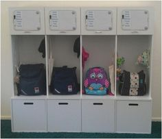 Area for keeping all kid related stuff in one easy to find place. Backpacks, Sport bags, Lunch Boxes... no more searching for the ballet slippers just before class, or lost homework, or the football jersey before practice. Mom can open up the cubby and pul out what needs to be clean and put it back when it is! GENIUS!