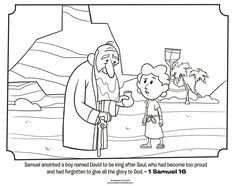 Samuel Anoints David - Bible Coloring Pages Bible Story Crafts, Bible Stories For Kids, Bible For Kids, Sunday School Activities, Sunday School Lessons, Sunday School Crafts, School Resources, Bible Coloring Pages, Cool Coloring Pages