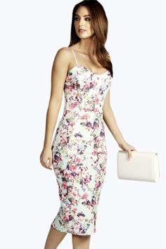 $40 Faye Floral Print Strappy Midi Bodycon Dress at boohoo.com