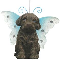 Chocolate Labrador With Butterfly Wings Christmas Ornament