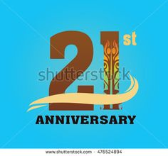 anniversary logo with javanese shadow puppet pattern 21st