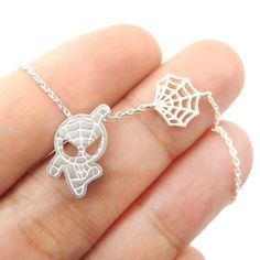 Chibi Spiderman and Spider Web Shaped Charm Necklace in Silver