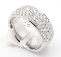 14k White Gold VS1-SI1,1.12tcw Pave Diamond Engagement 8mm Wide Band Ring 6.5 #Band #Engagement