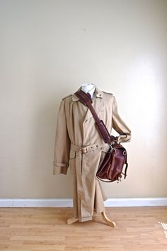 Sale Mens Vintage Trench Coat / Gaberdine British Khaki Mens Saks Fifth Avenue Double Breasted Trench Coat - Large