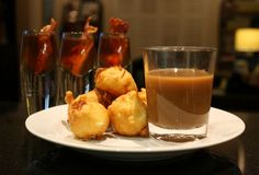 Deep-Fried Mashed Potato Balls with Bacon Bourbon Shooters >>Thanks to Thanksgiving left overs