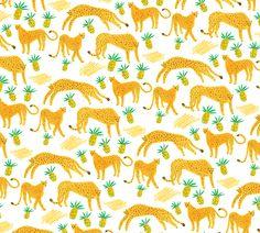 My favorite fast animal \\ Cheetahs in the pinneapple-palm desert © Elena Mir illustration 2014 Textile Patterns, Cool Patterns, Print Patterns, Illustration Arte, Conversational Prints, Tropical Pattern, Kids Prints, Illustrations And Posters, Surface Pattern Design
