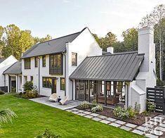 modern home exterior and backyard