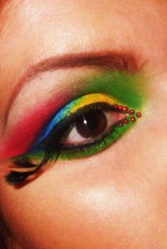 parrot inspired eye make up by ~littlemisslauran on deviantART
