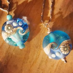 Murano glass pendant. Blue ocean wave. Shiny or etched.