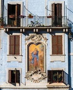 A unique bilding's facade near the Pantheon in Rome Italy.