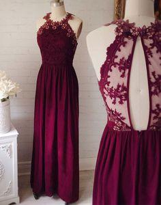 Burgundy lace chiffon long prom dress, burgundy lace evening dress, bridesmaid dress