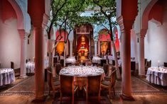 Interior dining room of Dar Zellik restaurant, in Marrakech, Morocco