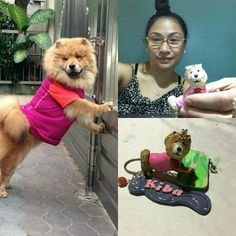 """Handcrafted and customized clay pet replica (lower right) with the """"original"""" Chow Chow pet (left) and the artist, my lovely and talented sister-in-law Ivonne Ramos with the unfinished pet replica (upper right)  :) #artcraftedpets #ivonneramoscreations"""