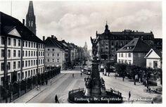 Kaiserstr. mit Siegesdenkmal um 1920    Ein gelungenes Foto vom Siegesdenkmal und die historische Kaiserstraße um 1920