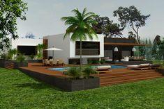Diseño de casa con alberca.