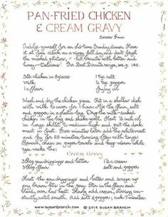 Pan-Fried Chicken and Cream Gravy Old Recipes, Vintage Recipes, Turkey Recipes, Chicken Recipes, Cooking Recipes, Amish Recipes, Vintage Food, Meal Recipes, Cookbook Recipes