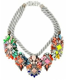 Shourouk Rainbow Gem Crystal Flower Handmade Double Deck Rope Exaggerate Necklaces & Pendants