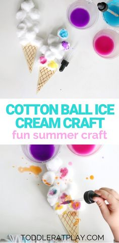 Cotton Ball Ice Cream Craft - Toddler at Play - Leigh Sager - Cotton Ball Ice Cream Craft - Toddler at Play Cotton Ball Ice Cream Craft - Toddler at Play - Summer Arts And Crafts, Toddler Arts And Crafts, Craft Activities For Kids, August Kids Crafts, Toddler Summer Crafts, Summer Crafts For Preschoolers, Summer Daycare, Crafts Toddlers, Childcare Activities