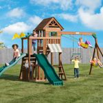Solid Wood Roof with Lookout Window, Two Slides, Rock Climbing Wall, Two Swings and a Trapeze Bar with Rings, Lemonade Stand and More!