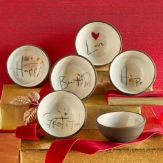 """LIFE'S MOST IMPORTANT WORDS BOWLS--Little clay cups——for jewelry, condiments, myriad small items. Handcrafted individually, glazed inside, matte outside. Made in USA. Approx. 3"""" dia. x 1-1/2""""H."""