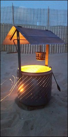 Upcycle an old washing machine drum into a creative and functional wishing well fire pit!  http://diyprojects.ideas2live4.com/2015/09/23/build-a-wishing-well-burn-barrel-from-an-old-washing-machine-drum/  Why buy an expensive, decorative fire pit for your yard when you can have something as impressive by upcycling an old and cheap washing machine drum?  It's easy to make, assemble, and very functional!  We're now on the look out for old and broken washing machines, how about you?