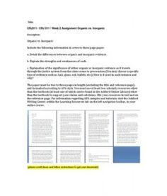 CRJ311   CRJ 311   Week 2 Assignment Organic vs. Inorganic --> http://www.scribd.com/doc/148227618/crj311-crj-311-week-2-assignment-organic-vs-inorganic
