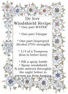 De Icer Windshield Recipe – Winter Vehicle Maintenance.