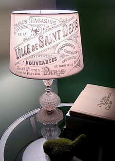 Lampshade with fench script via Graphics Fairy
