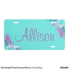 Teal Purple Floral License Plate